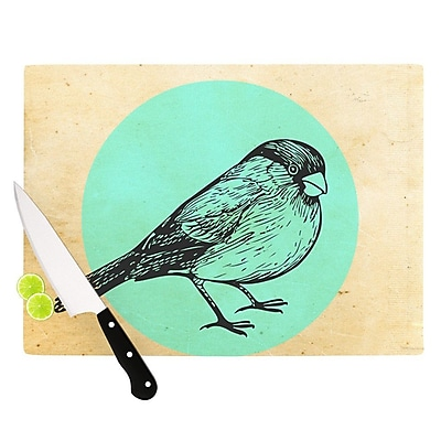 KESS InHouse Old Paper Bird by Sreetama Ray Circle Cutting Board; 0.5'' H x 15.75'' W x 11.5'' D WYF078277493713