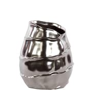 Urban Trends Ceramic Short Vase w/Embossed Spiral Design SM Chrome Silver; 7'' H x 5.5'' W x 5.5'' D