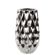 Urban Trends Ceramic Vase w/ Embossed Wave Design SM Polished Chrome Silver