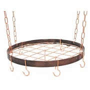 Rogar Gourmet Round Hanging Pot Rack with Grid; Hammered Copper/Copper