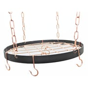 Rogar Gourmet Round Hanging Pot Rack w/ Grid; Black/Copper