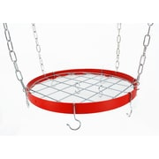 Rogar Gourmet Round Hanging Pot Rack w/ Grid; Red/Chrome