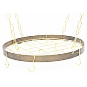 Rogar Gourmet Round Hanging Pot Rack w/ Grid; Hammered Bronze/Brass