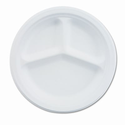 Chinet Paper Dinnerware, 3-Compartment Plate, 10-1/4'' Diameter,