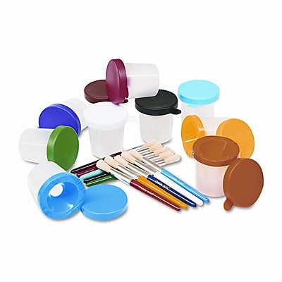CREATIVITY STREET No-Spill Cups and Coordinating Brushes, Assorted Colors, 10 WYF078277508124