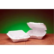 Genpak Foam Hinged Carryout Container with 1-Compartment in White