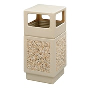 Safco Products Canmeleon 38-Gal Side-Open Square Receptacle; Tan