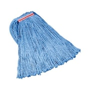 Rubbermaid Commercial Products Cut-End Blend Cotton/Synthetic Mop Heads in Blue (Set of 12)