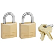 Master Lock Three-Pin Brass Tumbler Locks 2 Locks and 2 Keys/Pack