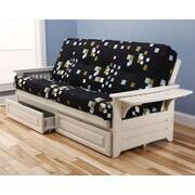Kodiak Furniture Phoenix Modern Blocks Storage Drawers Futon and Mattress; Antique White
