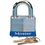 Master Lock Four-Pin Tumbler Lock Laminated Steel Body Two Keys in Silver / Blue