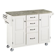 Home Styles Create-a-Cart Kitchen Island with Concrete Top; White
