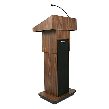 AmpliVox Executive Adjustable Height Sound Column Lectern, Medium Oak