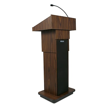 AmpliVox Executive Adjustable Height Sound Column Lectern, Walnut