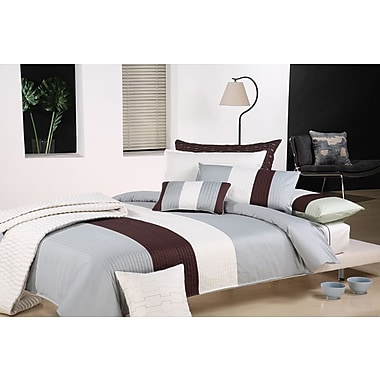Maison Condelle Bachelor 5-Piece Duvet Cover Set, Grey/Chocolate