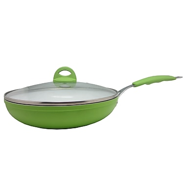Sandra Venditti Ceramic Frying Pan with Glass Lid, Lime