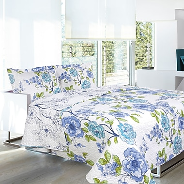 Lauren Taylor L-Aylin 2-Piece Microfiber Quilt Set, Twin, Blue