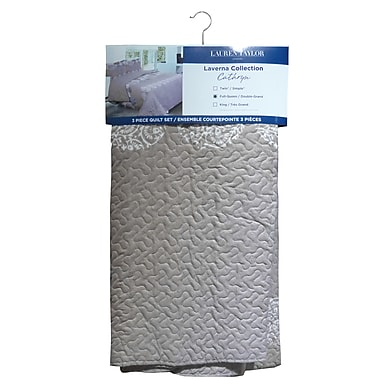 Lauren Taylor L-Cathryn 3-Piece Microfiber Quilt Set, King, Taupe