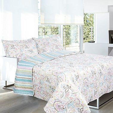 Lauren Taylor L-Keona 3-Piece Microfiber Quilt Set, Full/Queen, Multi