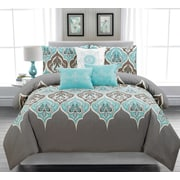 Sandra Venditti Monaco 6-Piece Duvet Cover Set, Queen, Teal