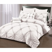Sandra Venditti Ruched 6-Piece Duvet Cover Set, White
