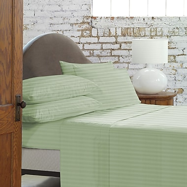 Blanc De Blancs T800 Damask Stripe Sheet Set Queen, Sage