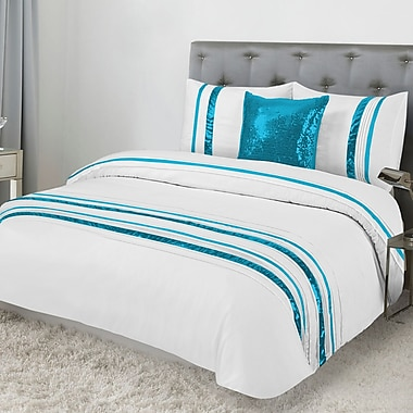 Lauren Taylor Tudisco 4-Piece Duvet Cover Set, Aqua