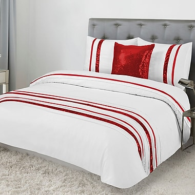 Lauren Taylor Tudisco 4-Piece Duvet Cover Set and Cushion, Full, Red