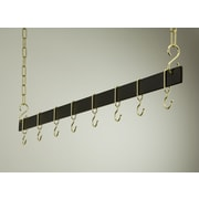 Rogar Gourmet Hanging Bar Pot Rack; 48'' Black/Brass