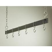 Rogar Gourmet Hanging Bar Pot Rack; 42'' Hammered Steel/Chrome