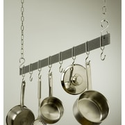 Rogar Gourmet Hanging Bar Pot Rack; 48'' Hammered Steel/Chrome