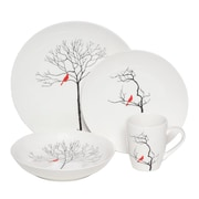 Melange Premium Three Calling Birds Dinnerware 16 Piece Place Setting