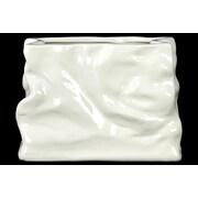 Urban Trends Ceramic Vase Irregular Gloss White; 5.51'' H x 7.68'' W x 3.46'' D