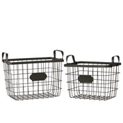 Urban Trends Metal Wire Basket w/ Mesh Sides, Handles and Card Holders Set of Two Black