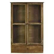 Urban Trends Wood Wall Mount Cabinet with Drawer and 2 Screen Doors Natural Wood Finish