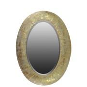 Urban Trends Metal Oval Wall Mirror Pierced Metal Weathered Gold
