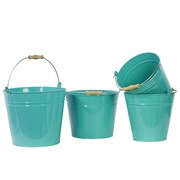 Urban Trends Metal Bucket With Wood Handle Set of Four Red; Blue