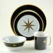 Galleyware  Company Decorated Black Compass 24 Piece Dinnerware Gift Set
