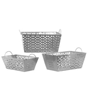 Urban Trends Metal Basket with Metal Handles and Punched Hole Sides Set of Three Blue; Silver