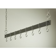 Rogar Gourmet Hanging Bar Pot Rack; 54'' Hammered Steel/Chrome