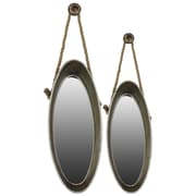 Urban Trends Metal Mirror with Rope Hangers Set of Two Galvanized Zinc