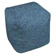 Thumbprintz Funky Florals Swirl Pattern Ottoman; Blue