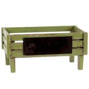 Urban Trends Wooden Crate with Black Rectangular Label SM Distressed Yellow Green; Green
