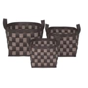 WaldImports 3 Piece Container Set; Chocolate / Tan