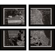 PTM Images San Francisco 4 Piece Framed Graphic Art Set in Black and White