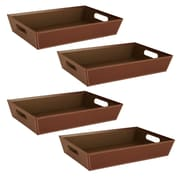 WaldImports 4 Piece Black Paperboard Tray Set (Set of 4); Brown