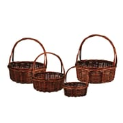 WaldImports 4 Piece Unpeeled Willow Basket Set