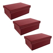 WaldImports Black Embossed Paperboard Box w/ Lid (Set of 3); Burgundy