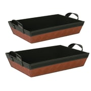 WaldImports 2 Piece Copper and Brown Faux Leather Sided Tray Set (Set of 2)