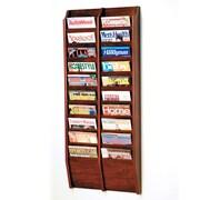 Wooden Mallet 20 Pocket Wall Mount Magazine Rack; Dark Red Mahogany